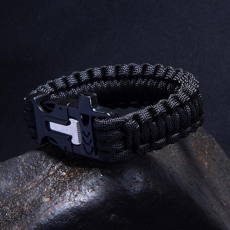 Outdoor First Aid Multifunction Flintstone Bracelet / Whistle Buckle / Umbrella Rope Black First Aid Bracelet