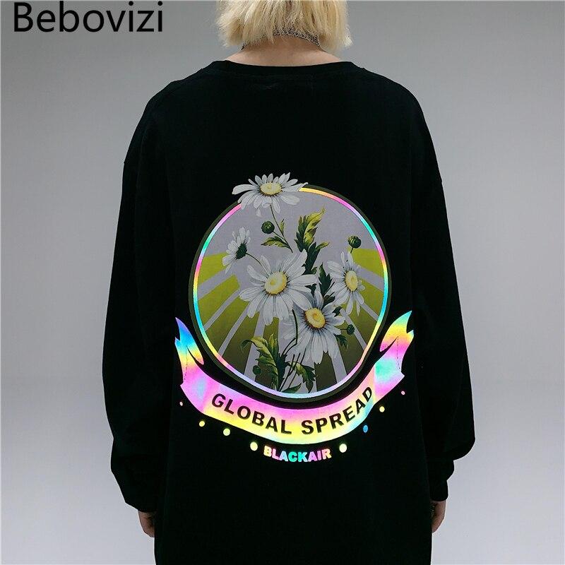 Bebovizi, Camiseta con estampado Global de Margarita reflectante, camiseta coreana Harajuku para hombre, camiseta de manga larga, ropa informal estilo Hip Hop