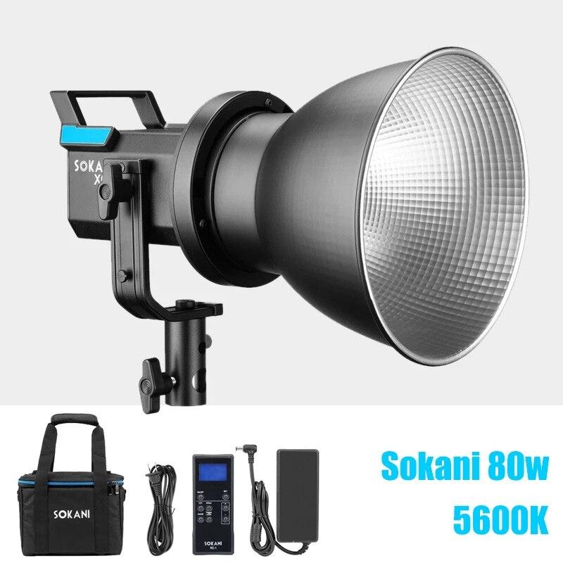 Sokani-مصباح LED خارجي مع جهاز تحكم عن بعد ، مصباح فيديو 80W X60 v2 5600K مع حامل بوينز وجهاز تحكم عن بعد 2.4G