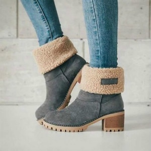 Plus Size Women Winter Flock Boots 2020 Fashion Mid-Calf Plush Warm Platform Non-Slip Booties Ladies Casual Solid Botas de mujer