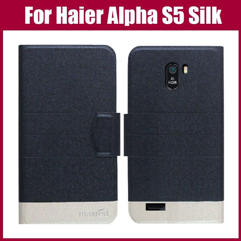 ¡Gran oferta! Haier Alpha S5 funda de seda moda 5 colores Flip Ultra-Delgado cuero cubierta protectora del teléfono funda Fundas