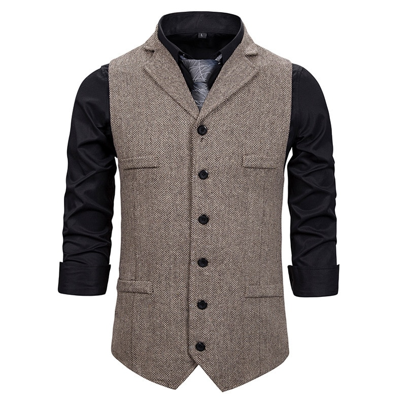 رجل الزفاف البدلات الصدرية جديد متعرجة تويد عادية الزخرفية جيب سليم صدرية الرسمي الأعمال اللباس الصدرية