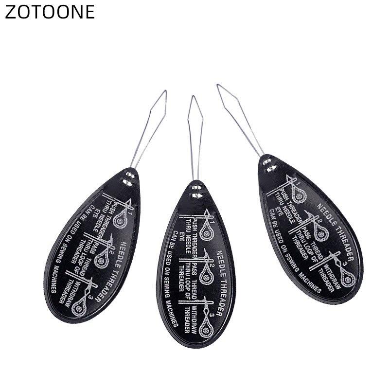Zotoone 3/10 pçs preto de alumínio uso idosos arco fio agulha threader agulha máquinas de costura de plástico inserção artesanato ferramenta de costura e
