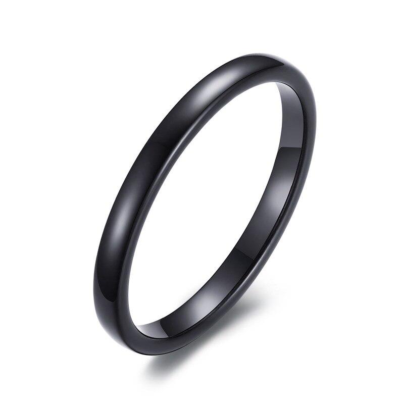 Anillo de compromiso para mujer de diseño Simple, anillo de compromiso, joyería femenina de carburo de tungsteno negro, Anillos de 2mm