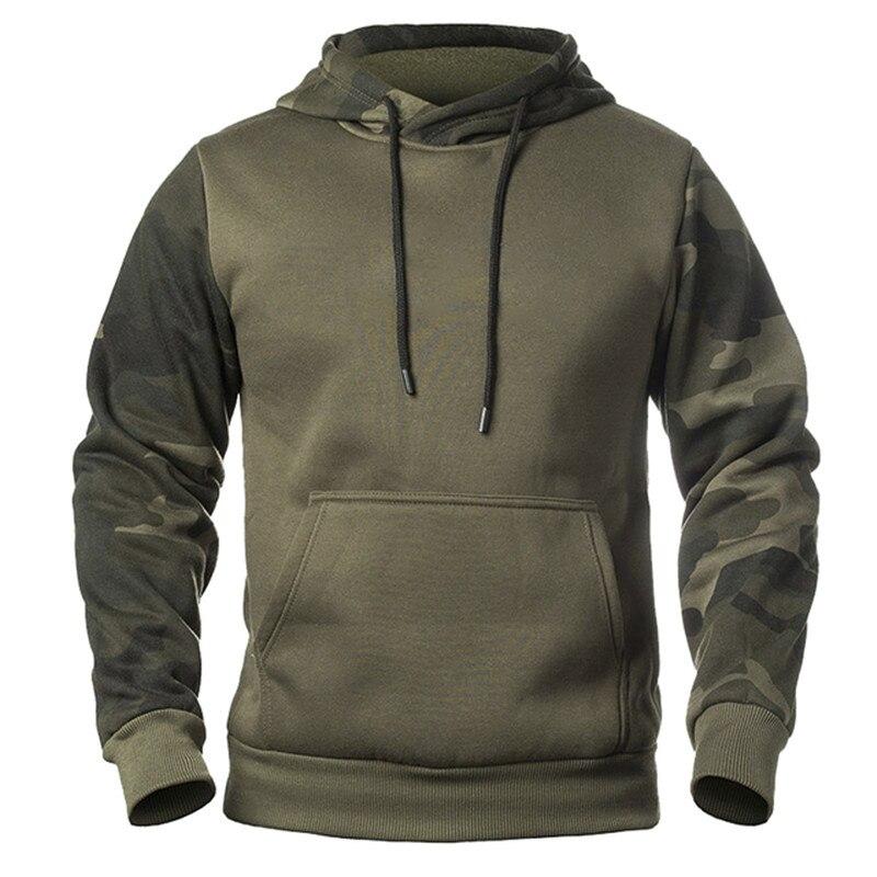 Amazon's new men's winter hoodie camo color patchwork hoodie wholesale top