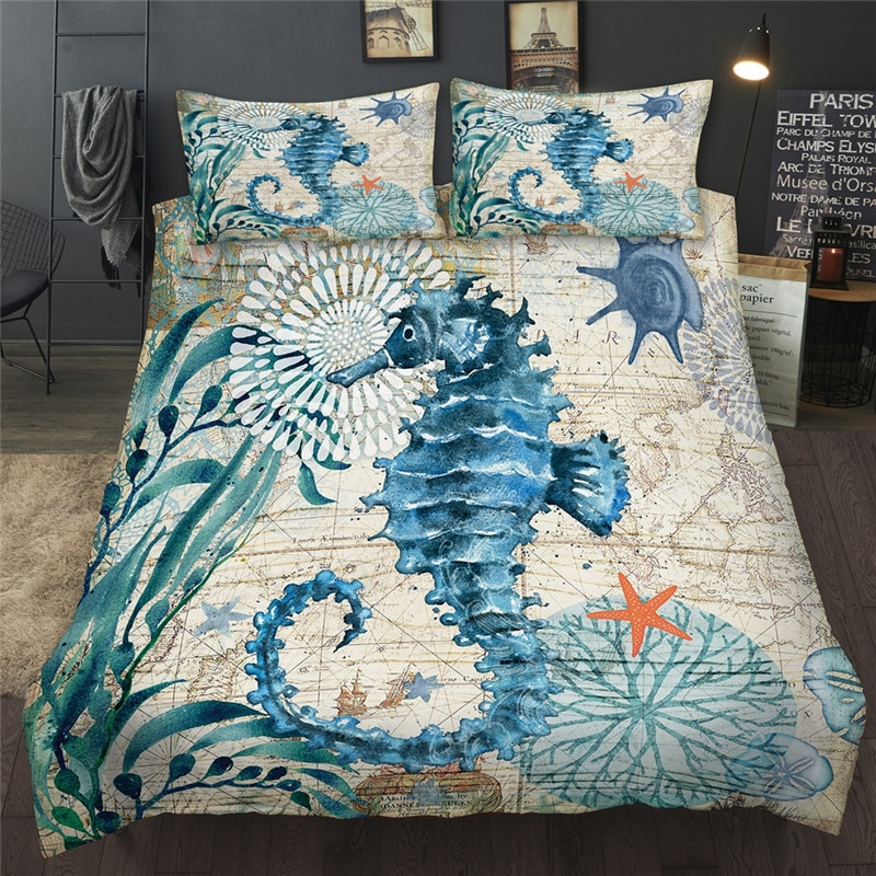 2021 thicken single double foldable mattress cute cartoon dorm home tatami mat floor pad student mattresses king queen size 3D Bedding Set Cartoon Sea Animal Seahorse Starfish Queen King Size Duvet Cover Set Twin Full Single Double Bedclothes For Child