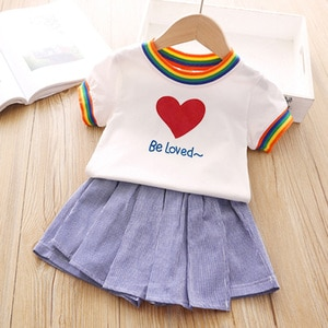 New Lovely Girls Skirt Clothes Baby Cute Rainbow Stripe Round Neck Short Sleeve Top + Culottes Set Kids Clothing Sets 1 6T