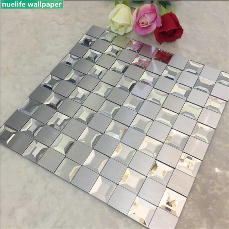 Mosaico de aluminio compuesto, espejo biselado, azulejos de cristal ribeteado de cinco lados, pegatinas de pared autoadhesivas para sala de estar, dormitorio y baño