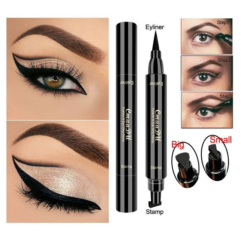Lápiz Delineador de ojos líquido CmaaDu, superimpermeable, negro, sellos de doble cabeza, delineador de ojos, maquillaje cosmético, sellos de maquillaje TSLM1