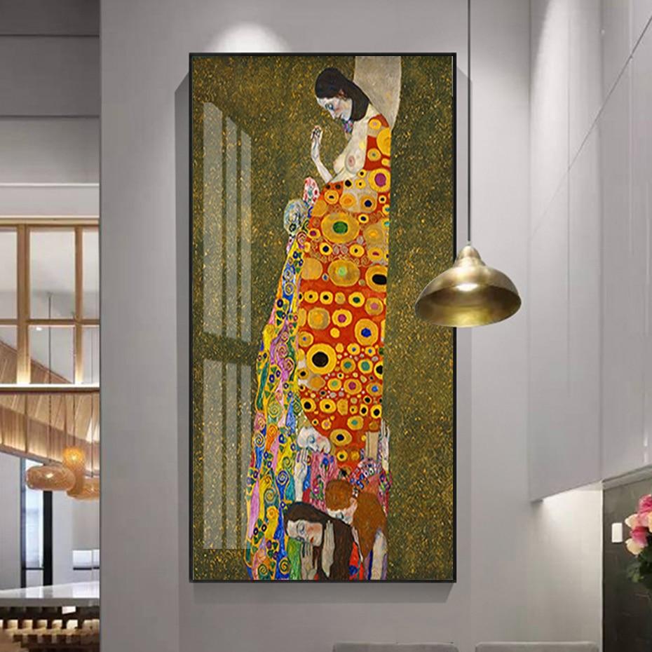 Kiss de Gustav Klimt Hope, II impresiones artísticas para colgar en pared, pintura en lienzo, decoración del hogar para la oficina, dormitorio, sala de estar sin marco