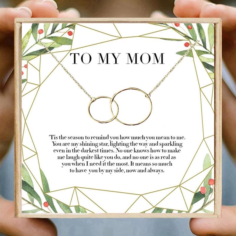 Presentes de natal para a mãe colar duplo círculo colares feminino círculos redondos infinito colar aniversário presente do dia de ação de graças