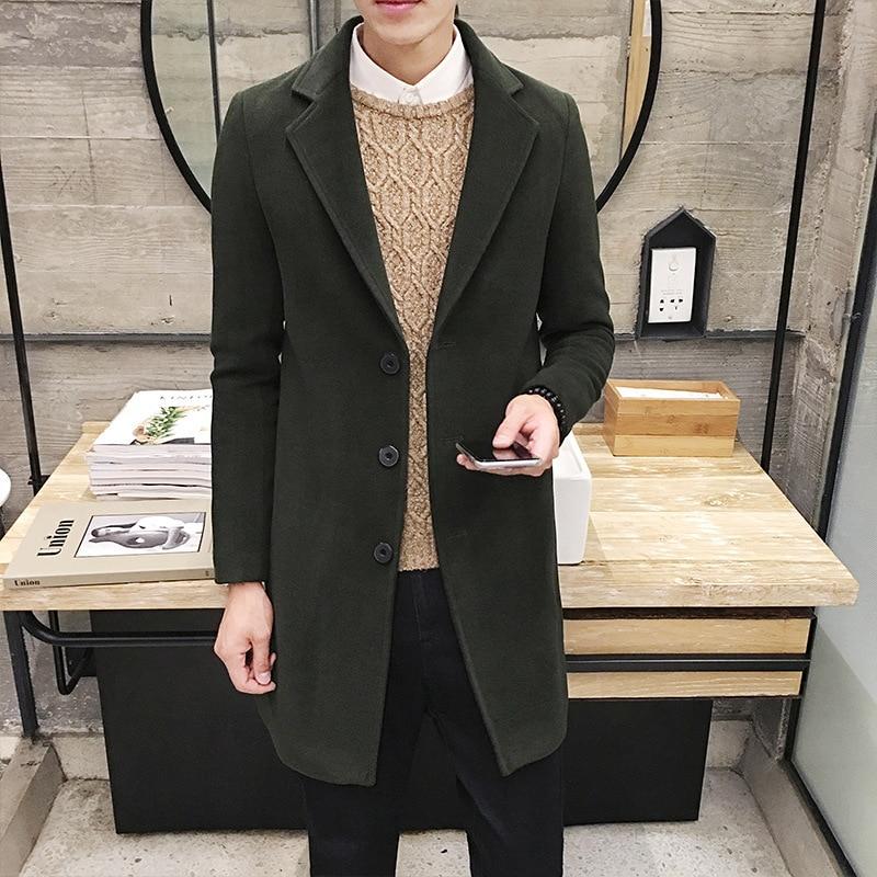Loose Men's Wear Solid Color Lapel Long Windbreaker Woolen Overcoat Leisure Loose Coat Business Dress Long Style Outerwear