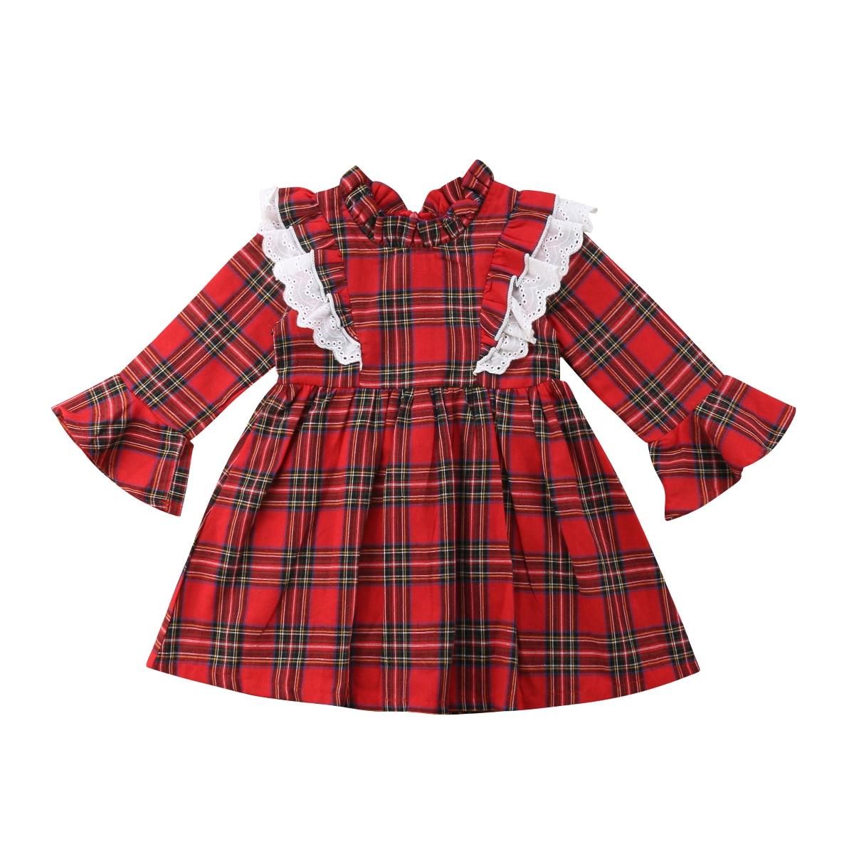 Christmas Newborn Baby Kids Girls Clothing Red Plaid Little Sister Romper Big Sister Dress Xmas Costumes Autumn New