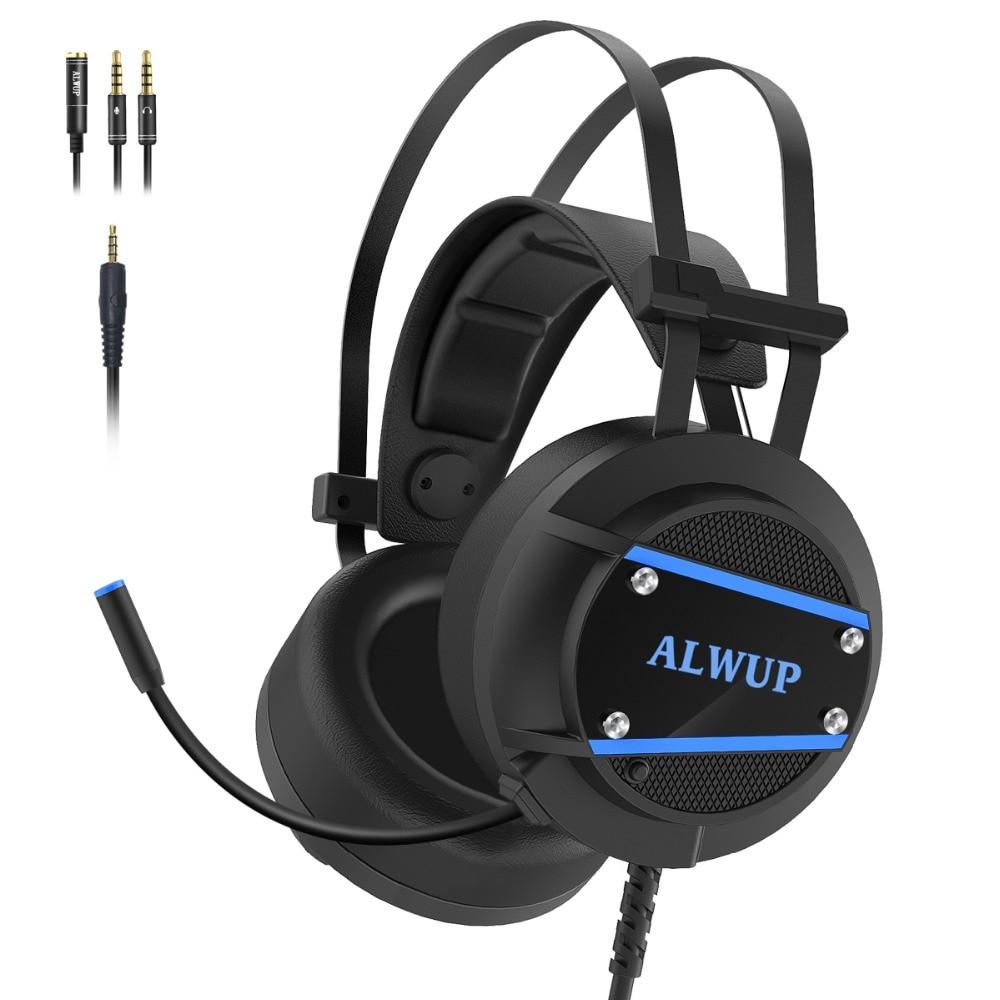 ALWUP A9 Gaming auriculares Xbox One PS4 para jugadores, auriculares para Playstation 4 con micrófono, PC, gamer, auriculares con micrófono para ordenador