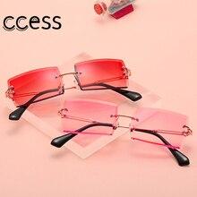 2020 Fashion Ocean Square UV400 Sunglasses trendy Retro Rectangular Rimless Crystal Sunglasses Women