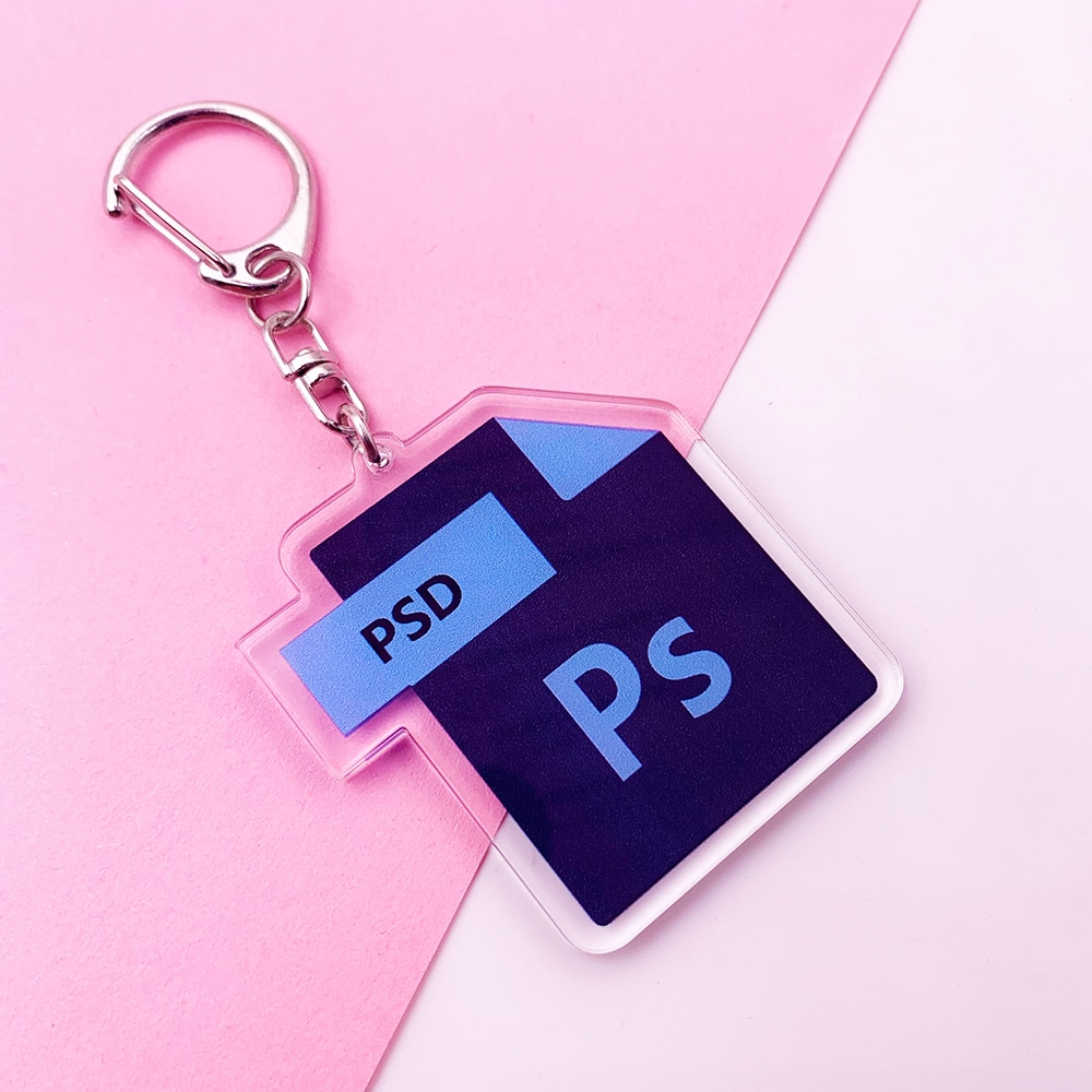 Cute Cartoon Office Software Icon Acrylic Keychain PS Ai Excel Bag Charm Pendant Key Chain Accessories Stainless Steel Key Ring