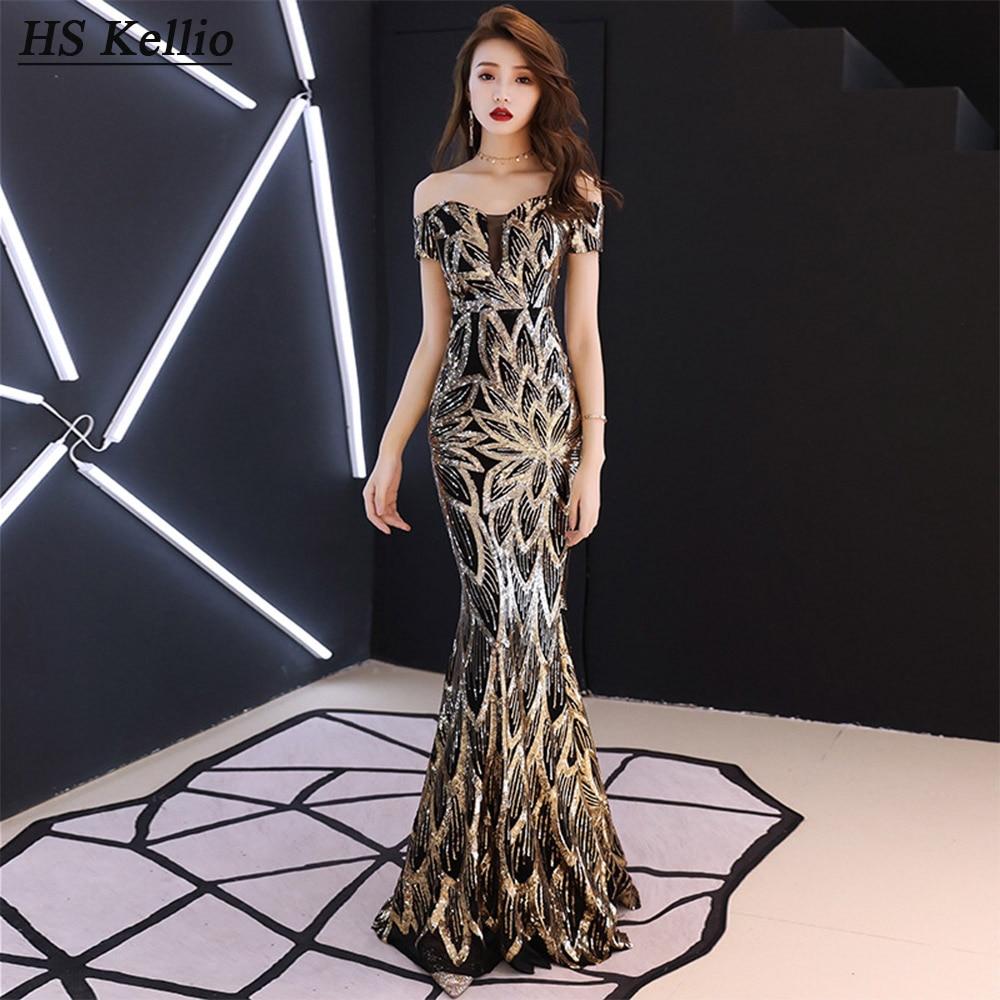 HS Kellio-vestido de sirena de celebridad, vestido de fiesta Formal con encaje de lentejuelas, largo hasta el suelo