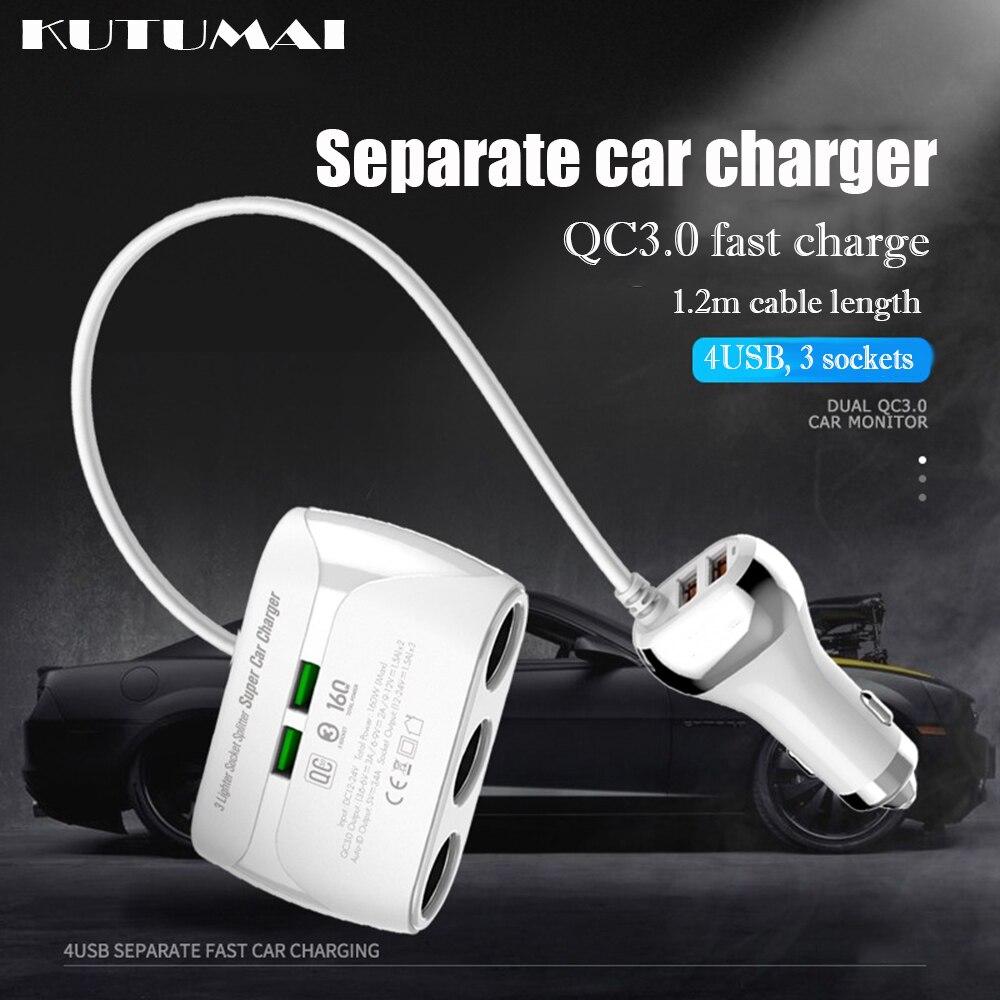 12 В-24 В Автомобильное зарядное устройство USB автомобильная зарядка гнездо прикуривателя двойной QC3.0 USB быстрая зарядка 3 розетки разветвител...