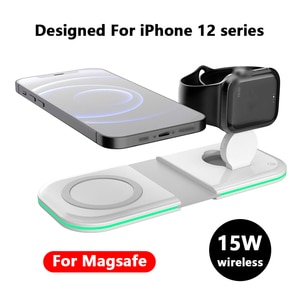 2in1 Magnetic Foldable Duo charge For iPhone 12 12Pro 12ProMax 12Mini 15W Fast Wireless charging For Magsafe Apple Watch Charger