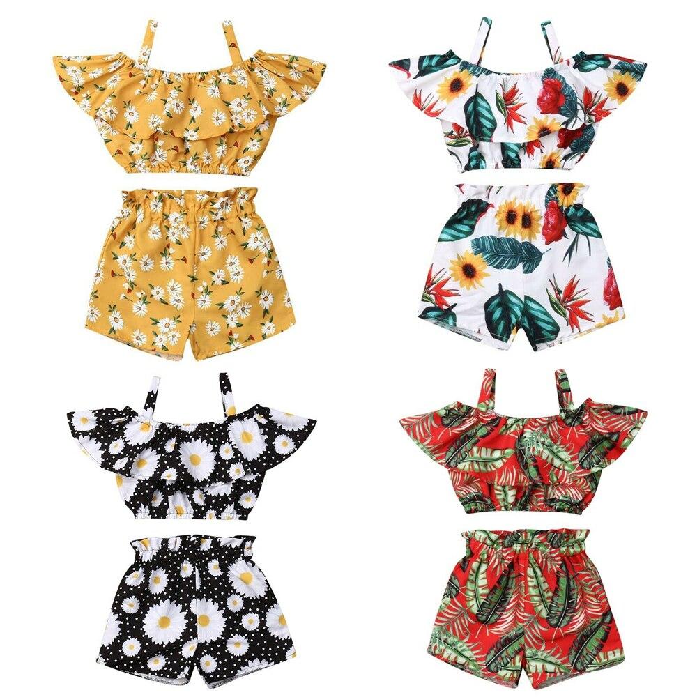 2-6 camisetas sin mangas para bebés y niñas pequeñas, camiseta + Pantalones cortos 2 uds., conjuntos de ropa para verano