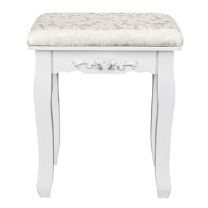 Solid Wood Bent Foot Dressing Stool - White