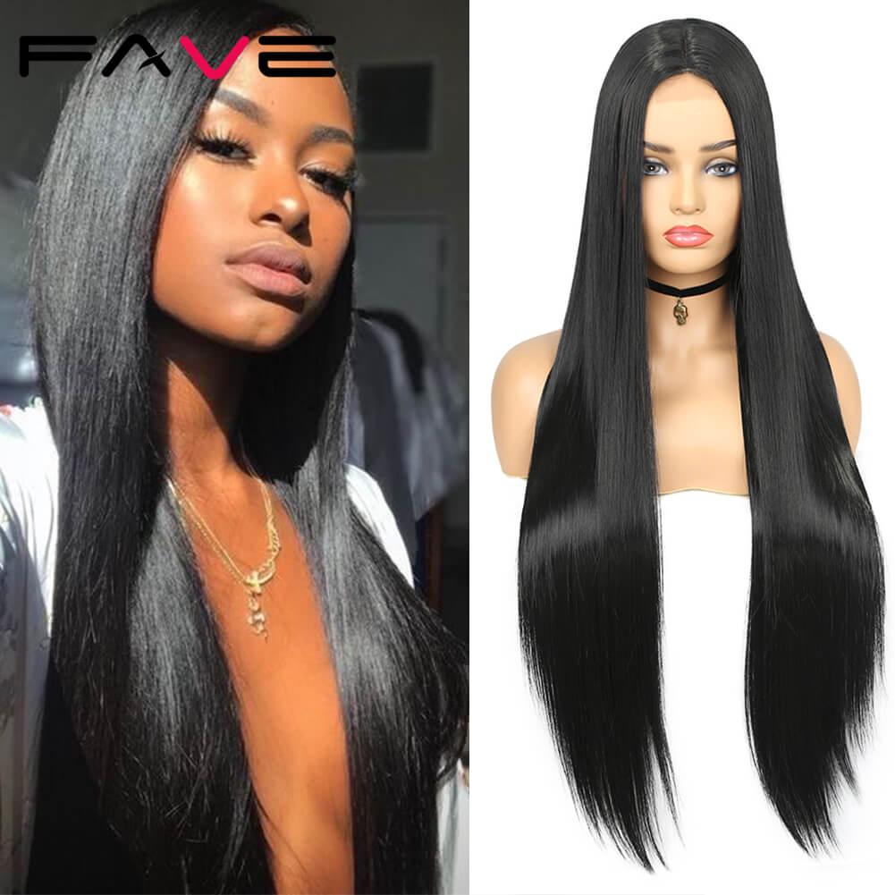 FAVE-شعر مستعار صناعي طويل مفرود مع دانتيل من الألياف المقاومة للحرارة للنساء السود