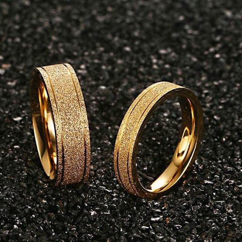 Anillo de boda Color dorado mate escarchado para pareja a la moda para amantes accesorios para él y ella