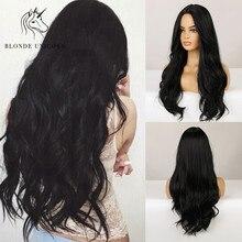 Parrucca bionda lunga unicorno nero Cosplay quotidiano onda del corpo parrucche sintetiche per le donne parrucche americane brasiliane fibra resistente al calore