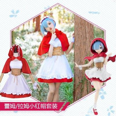 Hot Anime Japonês Re a vida em um mundo diferente de zero Rem Littele Red Riding Hood Traje Cosplay Mulher Vestido + Cinto + Capa