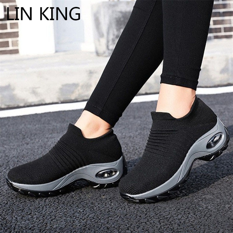 LIN KING Women Outdoor Casual Sport Shoes Big Size Non Slip Sneakers Slip On Loafers Comfortable Height Increase Swing Shoes lin king comfortable women casual shoes fashion breathable running walking swing shoes slip on ladies sneakers tenis feminino