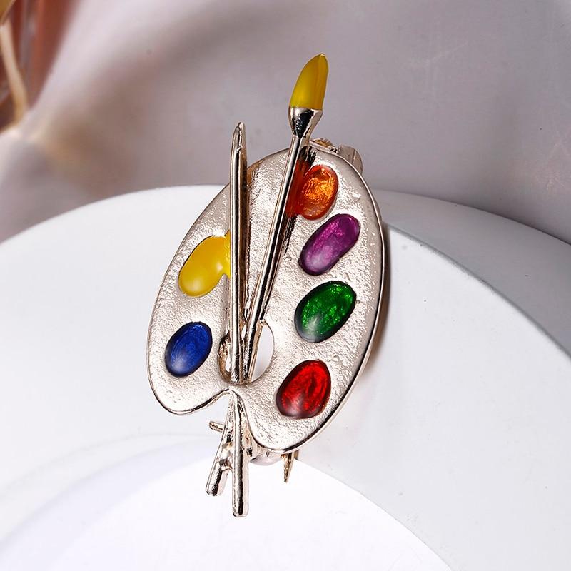 Broche de moda colorido esmalte artista paleta decorativa insignia Unisex niños vestido disfraz suéter bolsa solapa pines regalo