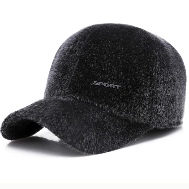 Gorra de béisbol HT2664 para hombre, gorro de piel de visón para otoño e invierno, gorras gruesas y cálidas con solapa en la oreja, gorra de béisbol ajustable