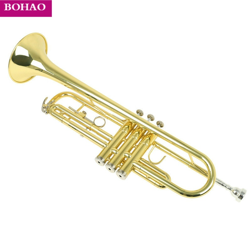 Trompeta Bb B de alta calidad, Trompeta de latón plana y duradera con boquilla