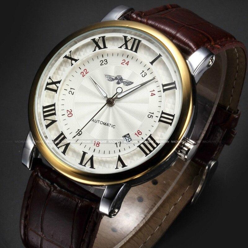 Relógio de Topo Roma Número Moda Casual Masculino Retro Marca Ouro Esportes Espontânea Liquidação Automático Calendário Mecânico Relógio Couro