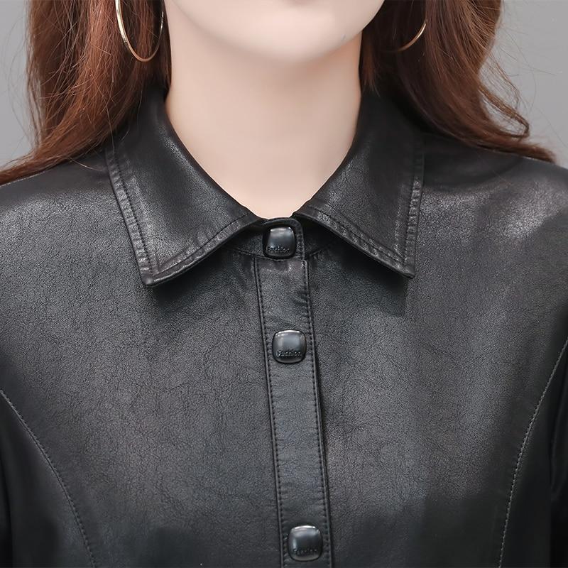 New Spring Autumn Womens Elegant Pu Leather Long Jackets Ladies Black Faux Sheepskin Trench Coat Female Windbreaker Outerwear enlarge