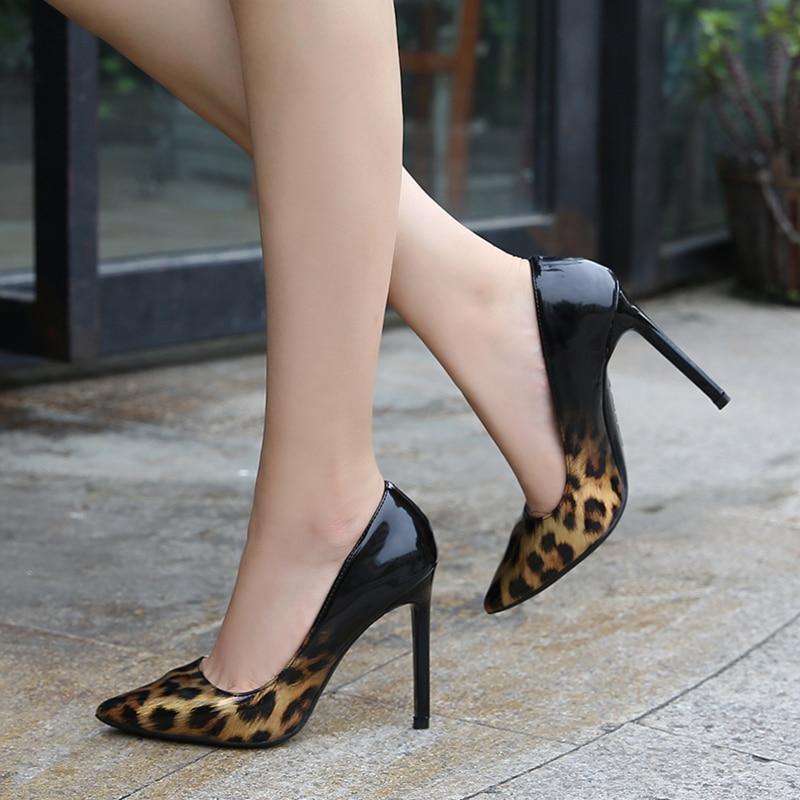 Fashion Designer Women's Stiletto High Heels Sexy Leopard Grain Shoes Patent Leather Ladies Office W