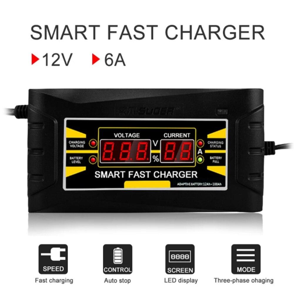 Plugue automático completo 150v da ue do carregador de bateria do carro-250v a 12v 6a carregamento rápido esperto da energia para o carregador de bateria da motocicleta do carro