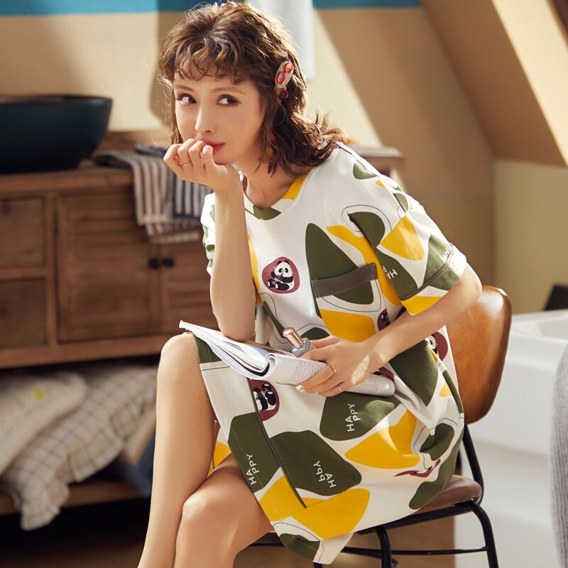 BZEL Round Neck Sleepwear For Women Soft Cotton Night Dress Spring Summer Winter Nightgown Nightdress Cute Cartoon Pijama Pyjama