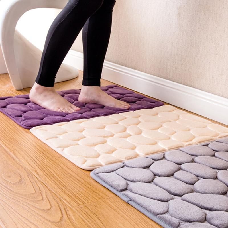 Alfombra de baño antideslizante Pebble cojín de franela alfombra de suelo alfombra de espuma de memoria Coral juego de esteras de lana colchón para decoración de baño