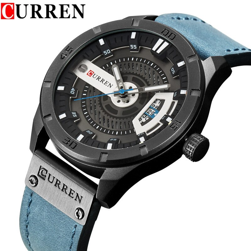 CURREN 8301 العلامة التجارية الفاخرة رجالي الرياضة العسكرية الساعات الرجال ساعة كوارتز المعصم الرجال ساعة معصم جلدية عادية