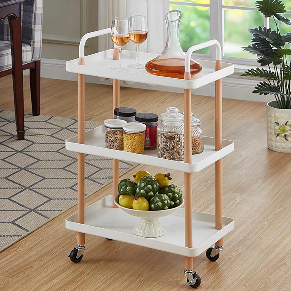 3-Tier الشمال نمط المتداول عربة مربع المطبخ تخزين الرف المنظم عربة مع عجلات للمنزل مكتب 36x54x85cm