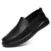 Genuine Leather Men Casual Shoes Luxury Brand 2020 Mens Loafers Moccasins Breathable Slip on Black D