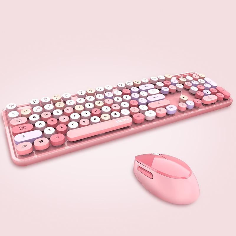 2.4G ماوس لوحة المفاتيح اللاسلكية عدة مكتب فتاة هدية 104 مفاتيح قبعة مفاتيح مستديرة لطيف وردي أزرق أخضر أحمر أسود أبيض لأجهزة الكمبيوتر المحمول ...
