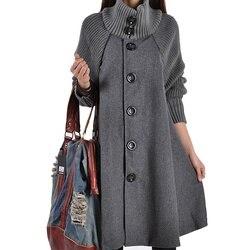 Xuxi mulheres nova moda outono inverno mulher de manga comprida lã overcoat vestido solto algodão manteau manto fz767