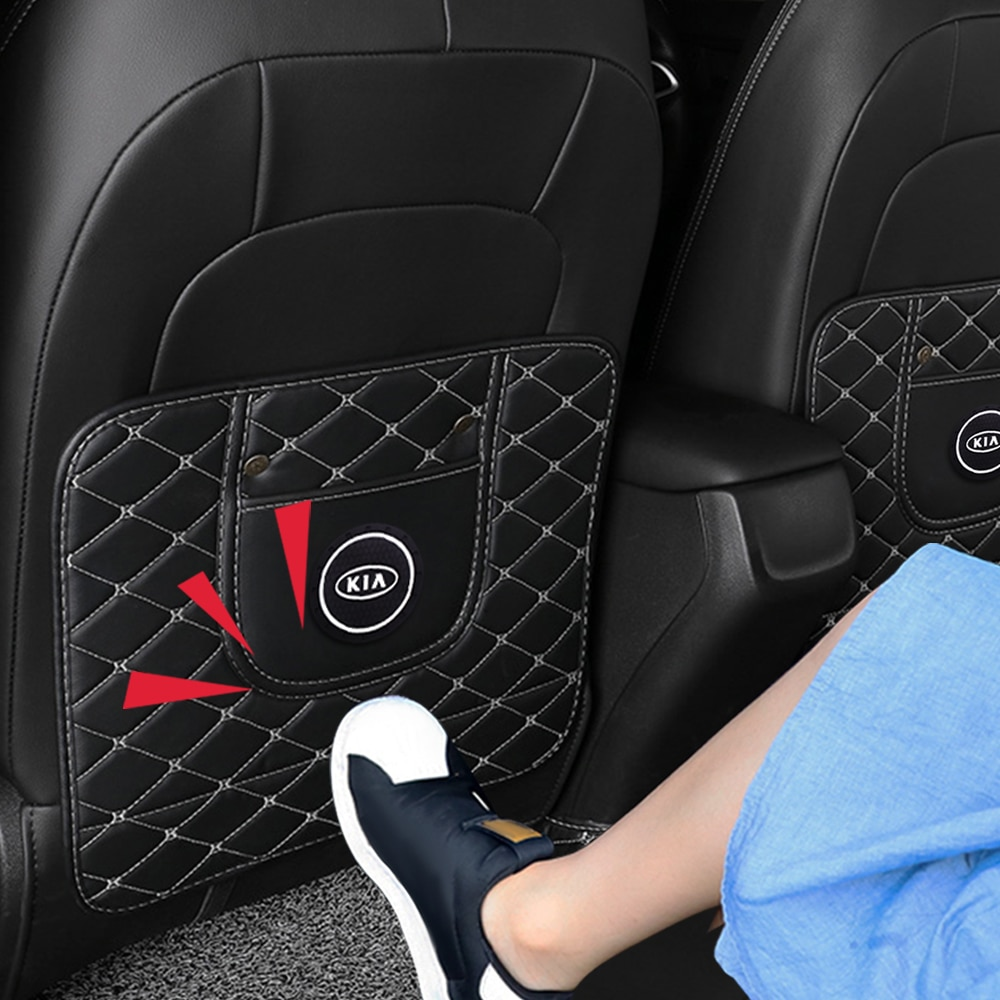 Fiber leather car seat anti-kick anti-kick mat for Kia Ceed Rio Sportage R K3 K4 K5 Ceed Sorento Cerato Optima Car Accessories