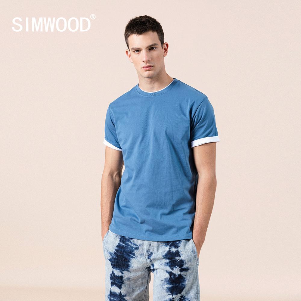 SIMWOOD 2020 NOVEDAD DE VERANO 100% de algodón sólido blanco t camisa de los hombres casual o-Cuello básicas Hombre de alta calidad clásica tops 190449