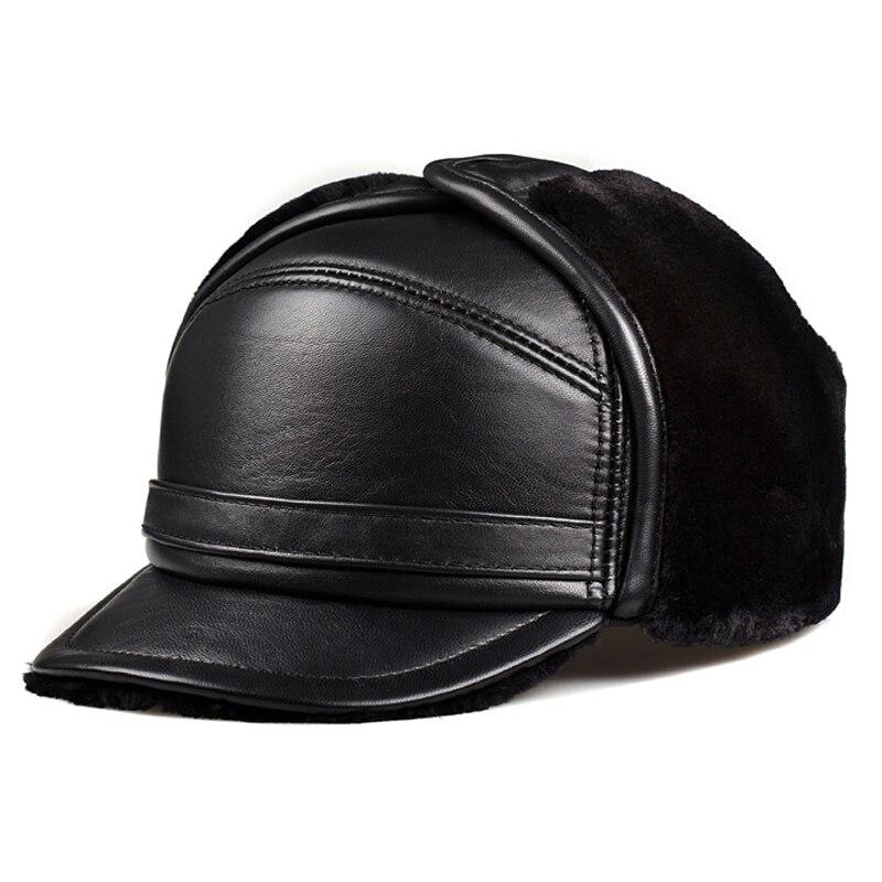 الشتاء يندبروف الثلوج قبعات الرجال 100% جلد طبيعي فو الفراء قبعة الذكور الدافئة العلامة سميكة المخملية Bomber القبعات المسنين إيرفلاب موتو