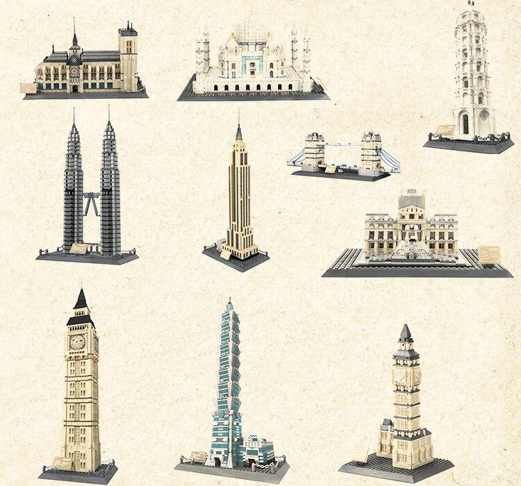 Playmobil dom miejski klasyczna architektura zestawy twórca ulica widok luwr piramida Taj Mahal Model klocki zabawki dla dzieci