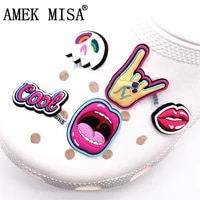 original rock style shoe charms cool mask scream mouth corna pvc shoe decoration accessories for croc jibz party kids gifts