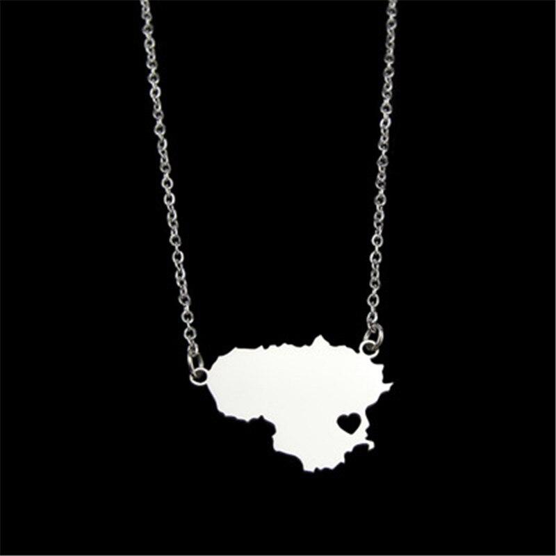 Collar de mapa con corazón de acero inoxidable de moda popular para mujeres COLLAR COLGANTE de mapa de Lituania declaración personalizada regalo de joyería